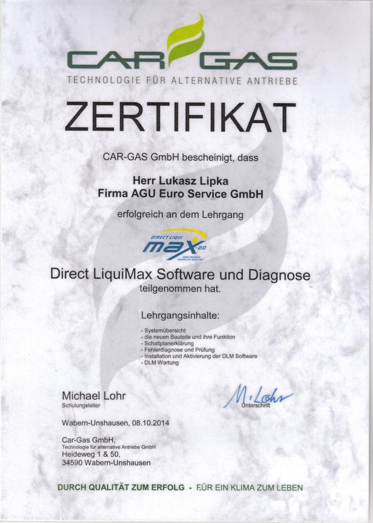 Zertifikat Prins Direct LiquiMaxi Software und Diagnose