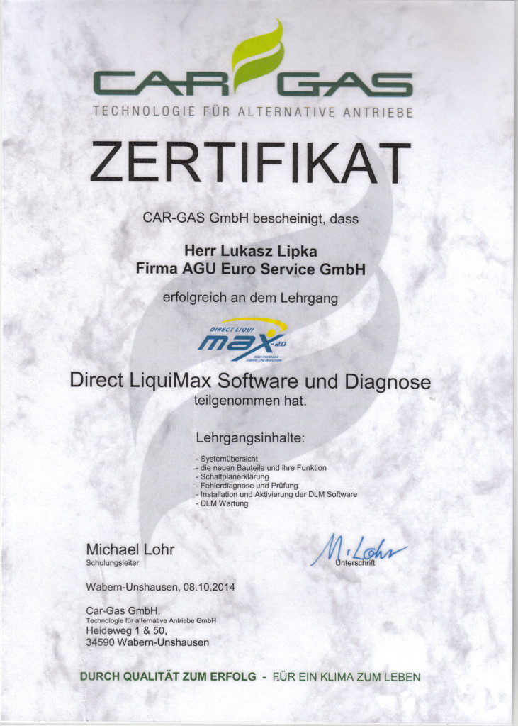 Zertifikat Prins Direct LiquiMaxi Software und Diagnose